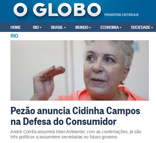 Pezão anuncia retorno de Cidinha à Secretaria de Defesa do Consumidor